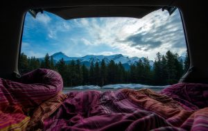 campervan in mountains