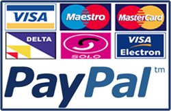 Credit cards and Paypal logo