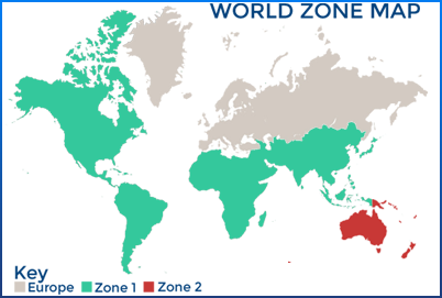 World Zone Map With colours