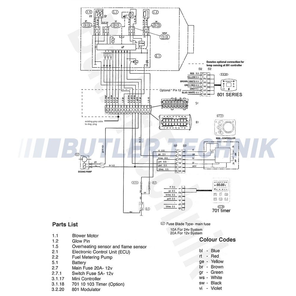 eberspacher d2 airtronic marine heater complete kit single outlet 12v rh butlertechnik com espar d2 heater wiring diagram espar d2 heater wiring diagram