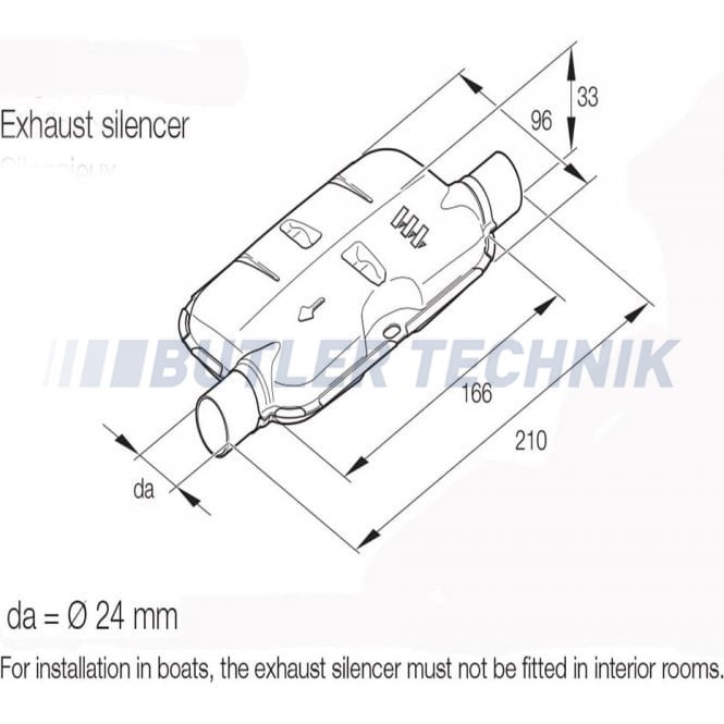 Eberspacher Hydronic Water Heater Exhaust Silencer 24mm