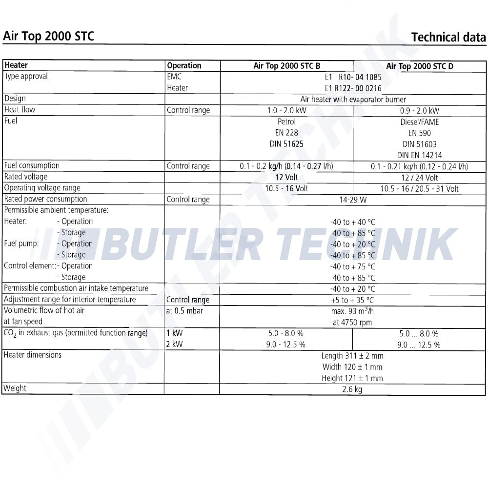 Webasto Webasto Air Top 2000 ST C 12v sel heater kit Twin outlet on