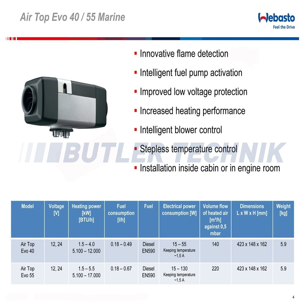 Webasto Air Top Evo 40 24v Marine Heater Kit 4110221a 9 Alternator Wiring Diagram