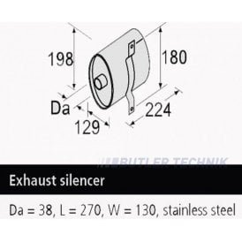 Webasto Thermo Pro 90/ST/S 38mm Marine Exhaust Silencer | 1321397A